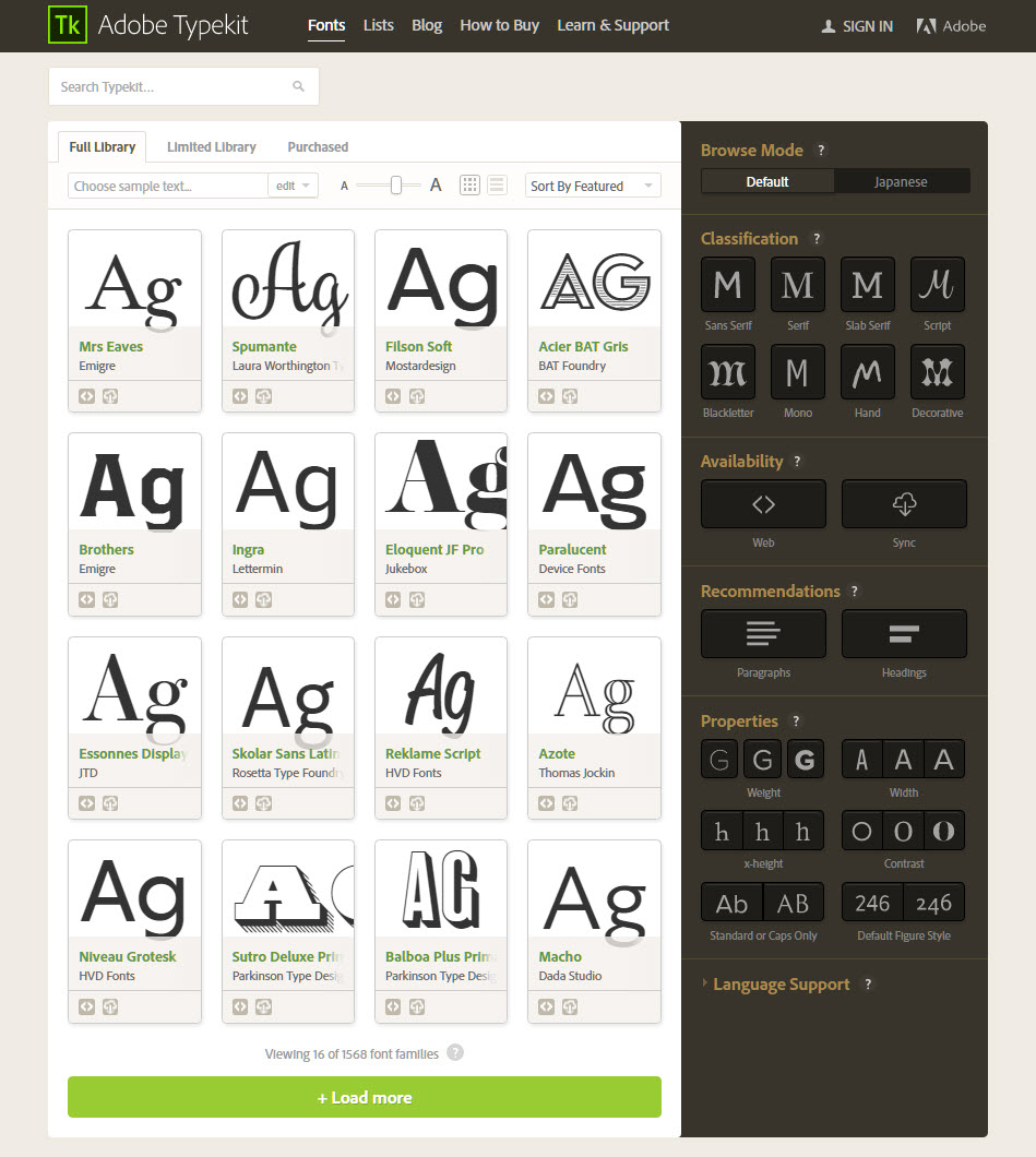 Typekit Font Selection
